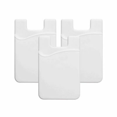 5 × Smart White Silicone Mobile Wallet Card 3M  Credit Card Cash Holder IPhone