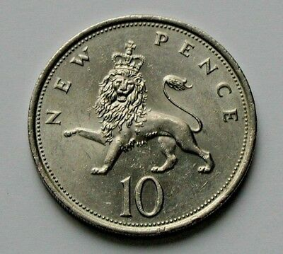 1975 UK (British) Coin - 10 New Pence (10p) - toned-lustre - crowned lion animal
