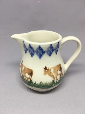 Brixton Pottery Spongeware Cream 175ml Jug - Cows - circa 1989