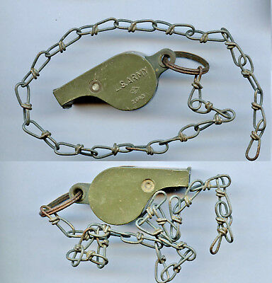 WWII WW2 US Army 1943 Dated Whistle and Chain OD Plastic Style Used but Nice