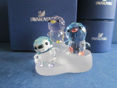 Swarovski Crystal Set of Mama Papa and Big Brother Paco Penguin + SCS Base.