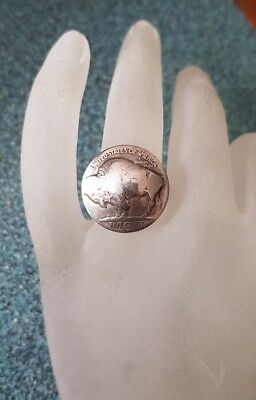 Domed USA Bison Nickel Coin Sterling Silver Ring sz8.25 .R134