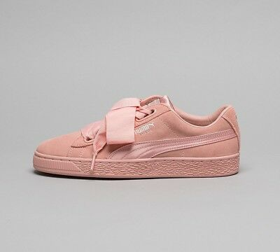 WOMENS PUMA BASKET Heart Patent Pink Trainers RRP £74.99