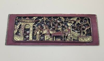 Antique Chinese Hand Carved Wooden Lacquered Household Scene Panel c1880s LOOK