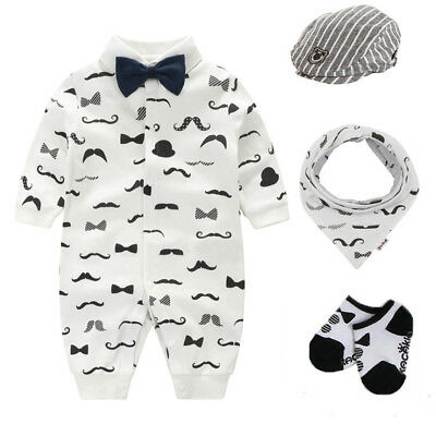 Newborn boys clothes jumpers wedding party tuxedo outfits &set baby shower gift