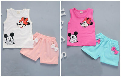Toddler Kids Baby Girls T-shirt Tops+ short pants Summer Outfits & set cartoon