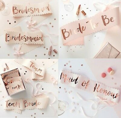 HEN PARTY Rose Gold SASHES Bride to Be Bridesmaid Team Bride Mother of Bride etc