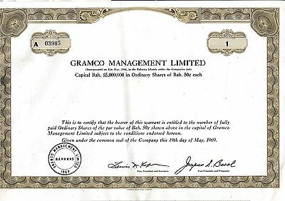 GRAMCO Management Ltd share histor. Aktie 1969 mit Kupons USA Bahamas Investment