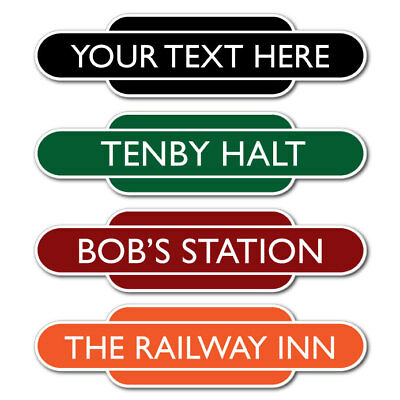 Railway Totem Station Sign, Personalised Train Sign, Mini Classic Railway Sign.
