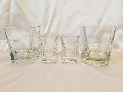 Collection of Jack Daniels Old No. 7 square (2) shot and (2) rock glasses!