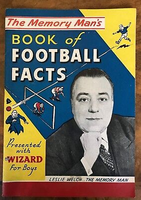 Memory Man's Book of Football Facts Presented With Wizard For Boys