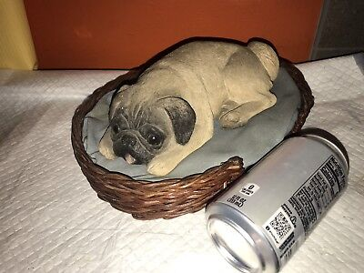 Cute Sandra Brue PUG DOG in BED Sandicast Statue Figurine
