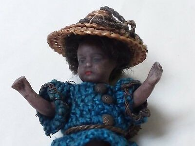 "Tiny Antique Miniature All Bisque Jointed Character Doll 3"" Mignonette Dollhouse"