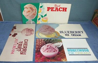 Vintage Ice Cream Flavors Menu Board Soda Fountain Paper Signs Lot of 4