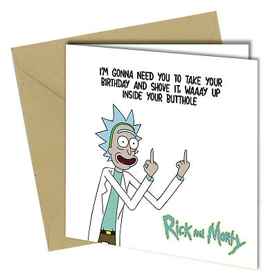 #665 BIRTHDAY GREETING CARD Funny Rick and Morty - Let's get schwifty! TV sci-fi