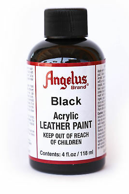 Angelus Brand Acrylic Leather Paint Waterproof Black - 4.oz