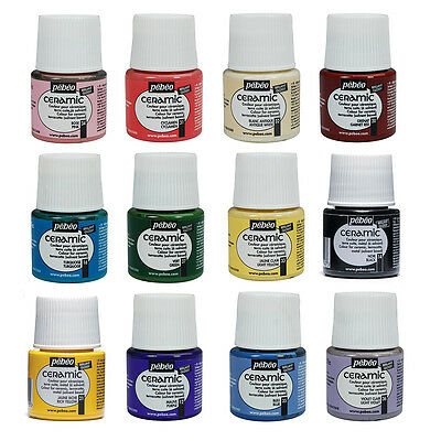 Pebeo CERAMIC Porcelain, China, Terracotta Paint 45ml Enamel Finish - 30 Colours