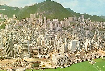 Hong Kong panoramic aerial birds eye view Centrel District vintage pc (Z47638)
