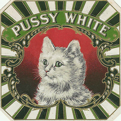 Beautiful White Cat Antique Cigar Box Label T Shirt Small-Xxxlarge (F)