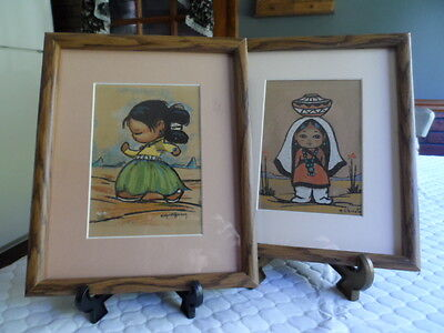 Vintage Framed Pair Native American Children Sand Paintings  S/Christe Herson