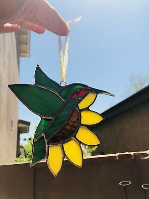 "VINTAGE 5X5"" stained glass suncatcher colorful hummingbird bird on Sunflower"