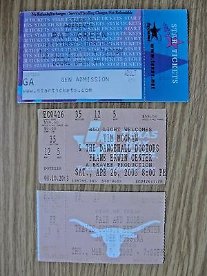 TIM McGRAW 2003 / JO DEE MESINA 2002 / PAT GREEN 2001 /CONCERT TICKET STUBS