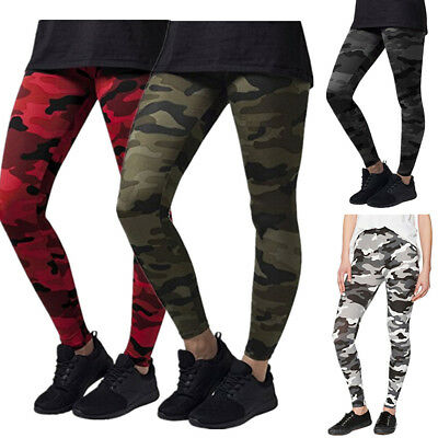 Womens Camo Yoga Sports Fitness Leggings Gym Workout Long Pants Trousers Casual