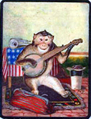 MONKEY PLAYING THE BANJO ANTIQUE IMAGE T SHIRT Unique SMALL-XXXLARGE (F)