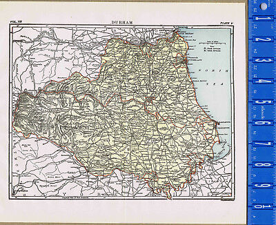 County of Durham in England - Map Print -- 1907