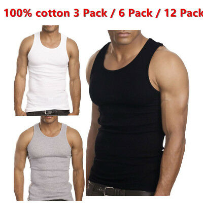 9 Mens White Tank Top 100/% Cotton A-Shirt Lot Wife Beater Ribbed Undershirt 3XL