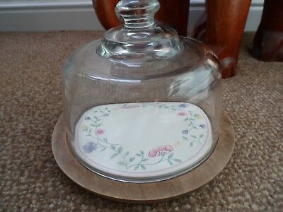 """Johnson Brothers """"summer Chintz"""" Round Cheese Board With Glass Dome In G.c.c !!!"""