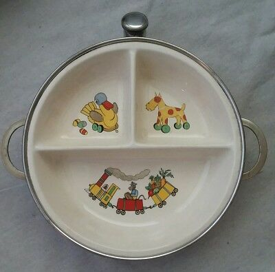 Vintage Childrens Toys Dish Divided Warmer With Handles Chrome Plated by EXCEL