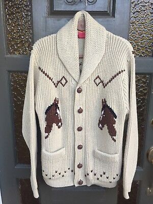 Vintage Cowichan Sweater Cardigan Medium Horse Equestrian 60's 70's