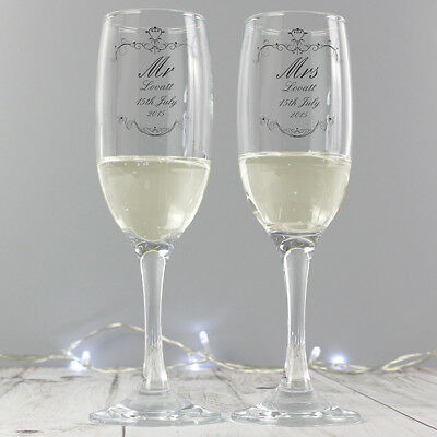 Personalised MR & MRS CHAMPAGNE FLUTES Wedding Anniversary Bride & Groom