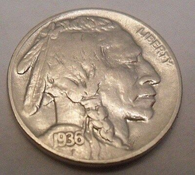 "1936 P Indian Head ""buffalo"" Nickel  *good Or Better*  **free Shipping**"