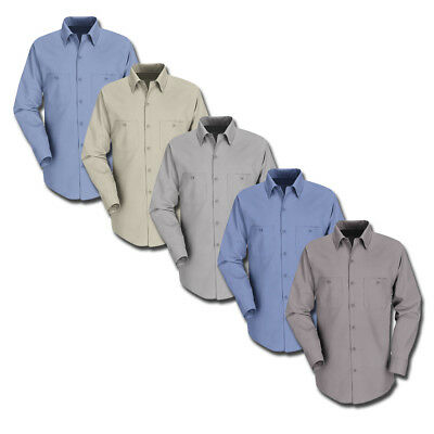 NEW ! Work Shirt Uniform Long Sleeve Two Pockets Solid Color CornerStone - REED