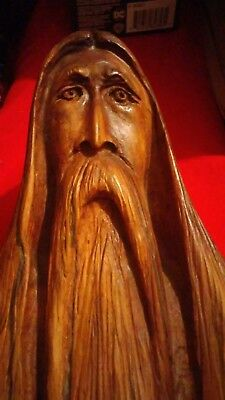 hand carved wood man