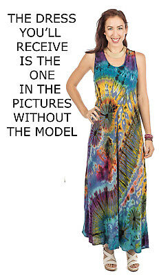 91a0ff7084 Nwt SACRED THREADS hippie tie dye mudmee rayon tank maxi DRESS XL Free  shipping