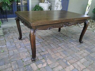 Antique Country French Oak Dining Table with Draw Leaf and Lovely Parquet Top