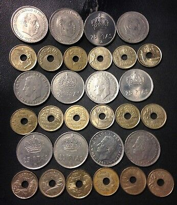 Old Spain Coin Lot - 25 Peseta - Mixed TYPES - 30 Coins - Big LOT - Lot #518