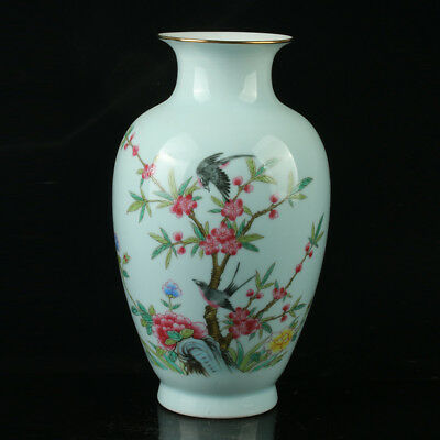 China Pastel Porcelain Hand Painted Flower and Bird Vase Mark  As The Qianlong