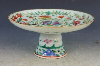 Antique Chinese Famille Rose Porcelain Footed Plate