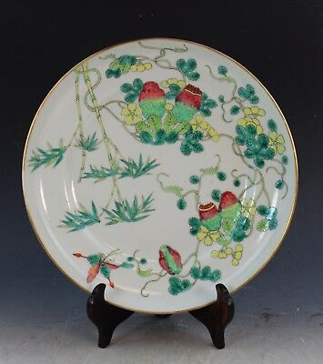 Antique Chinese Famille Rose Porcelain Plate With Marked
