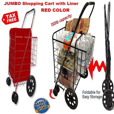 Folding JUMBO Shopping Cart Double Basket with Liner Swivel Wheel for Groceries