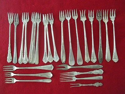 25 Pc Mixed Lot Silverplate Seafood Cocktail Forks Antique Flatware