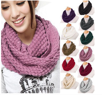 Ladies Women Winter Knitted Crochet Long Snood Tube Scarf Shawl Neck Warmer AU
