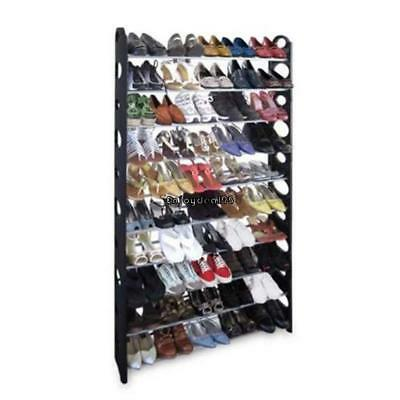 50 Pair 10 Tiers Space Saving Storage Organizer Free Standing Shoe Tower Rack