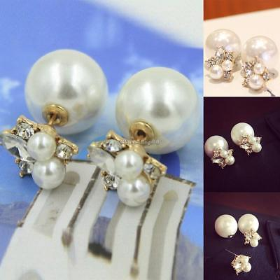 4c19750a5 Fashion Double Sided Shining Women Faux Pearl Stud Earrings Casual Party  C1MY