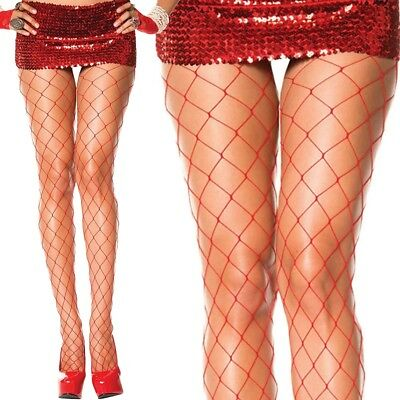 Red FENCE-NET Tights PANTYHOSE Fishnet FENCENET Stockings AVERAGE-TALL Sz 6-12