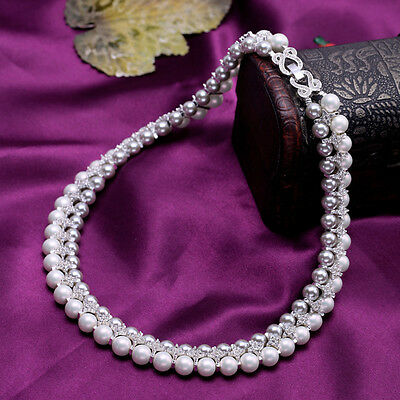 Necklace Two Row Pearl White Grey Crystal Baroque Vintage Original Marriage QT 1